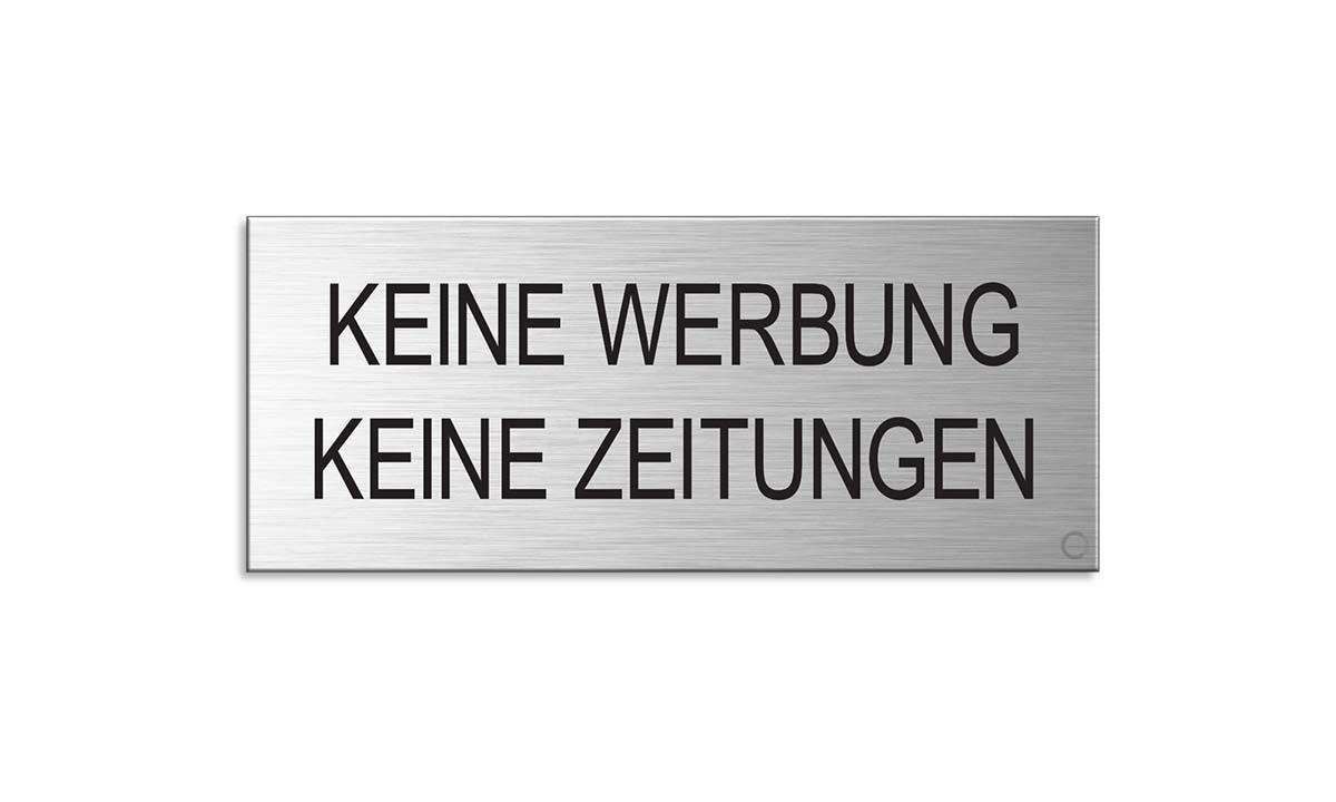 """Briefkastenschild l Aluminium matt-Gold eloxiert l selbstklebend l /""""Bitte Keine Werbung/"""" l 60/×25 mm l Nr.29035-M"""