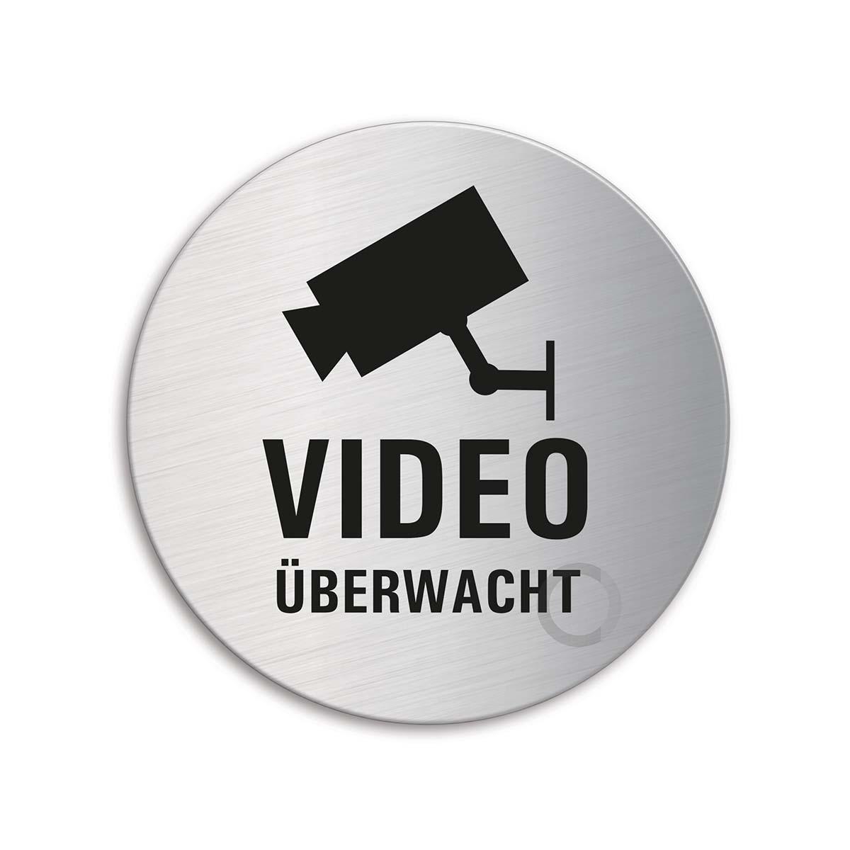 Edelstahlschild Video überwacht