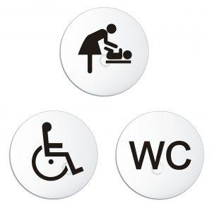 Schilder Set Wickelraum, WC, Rollstuhl