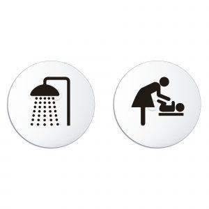 Schilder Set Dusche Wickelraum